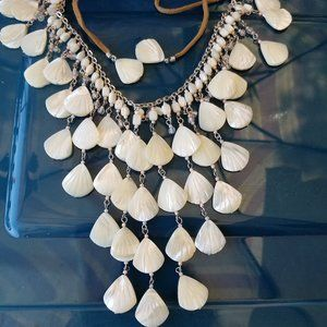 Jewelry - Mother-of-pearl MOP carved waterfall bib necklace